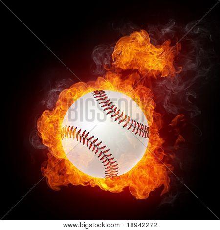 Bola de béisbol en llamas. Gráficos 2D. Diseño de la computadora.