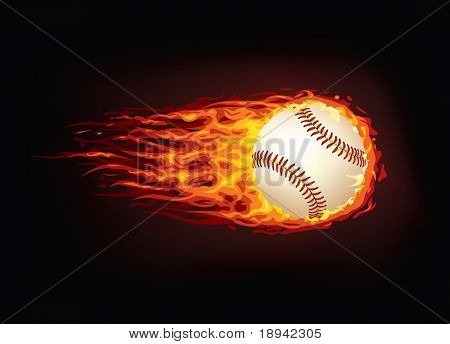 Baseball Ball in Fire isolated on Black Background. Vector.