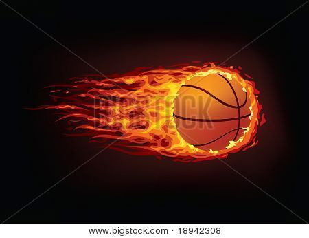 Basketball Ball in Fire isolated on Black Background. Vector.