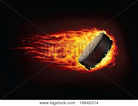 Hockey Puck in Fire isolated on Black Background. Vector.