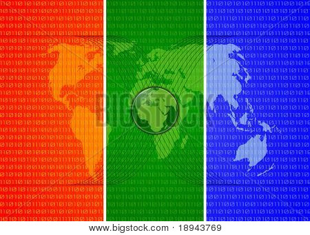 three colors digital world map with globe, binary symbols and satellites orbits