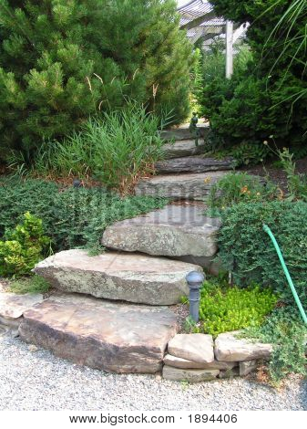 Secluded Staircase In A Garden