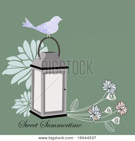 Lantern with flowers and bird - layered