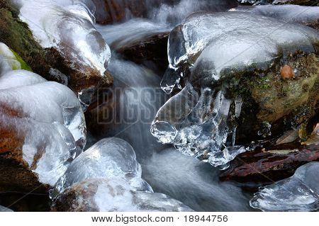 Detail of a mountain frozen torrent, west Alps.