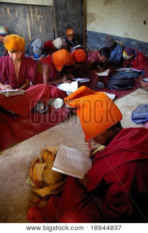 Students of tibetan monastery school, Ladakh, India.