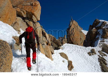 Rock-climbing sport, Mont Blanc, Chamonix , France