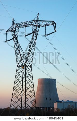 Power line in front of a nuclear power plant