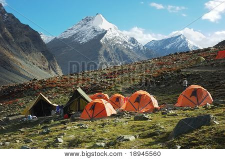 Trekking camp in Ladakh region, Himalaya, India. Horizontal orientation, day light.