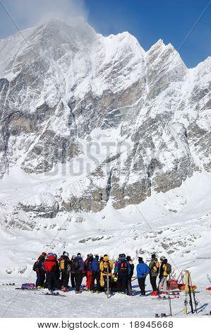 Skier group meeting; vertical orientation