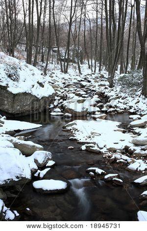 mountain frozen torrent, winter season, vertical orientation