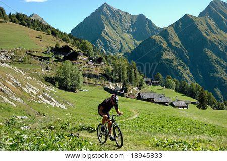 Ciclista en carretera rural de alta montaña; Alpine scenic, Italia, Europa.