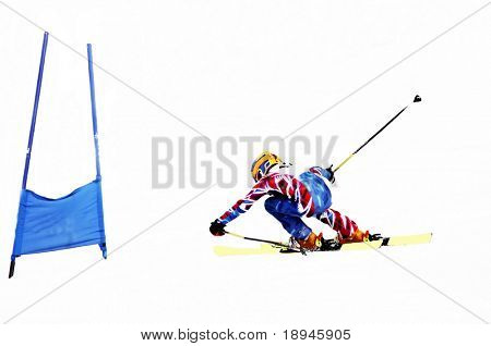 Young ski racer during a slalom competition (posterized version; isolated over white background)