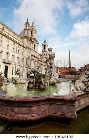 Piazza Navona Fountain, Rome, Italy.
