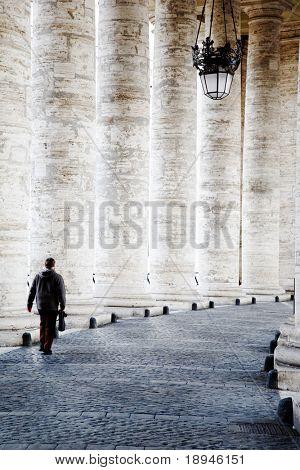 Bernini's colonnade, Saint Peter's dome (Basilica di San Pietro) Vatican City, Rome, Italy.