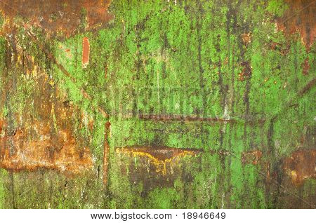 Rust on dirty old green painted metal surface. Grunge background.