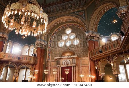 restored interior of the synagogue in Sofia, Bulgaria