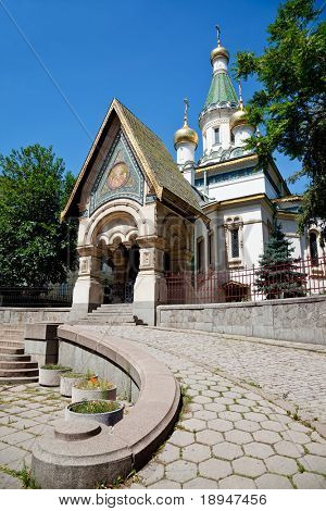 a view of the russian church Saint Nicholas the Wonderworker in sofia, bulgaria