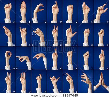 Finger spelling of alphabet in sign language, on blue background