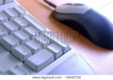 Computer parts close-up. Keyboard and mouse
