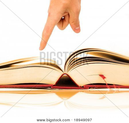 Opened book on bright white background