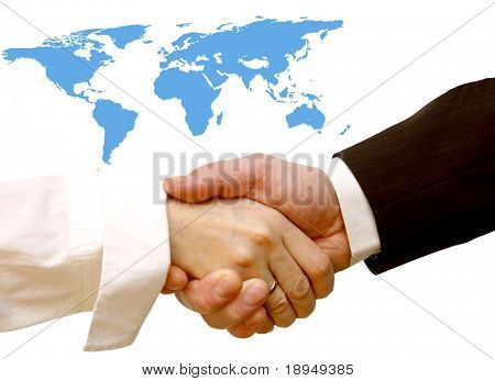 Agreement handshake. World map in the background, conceptual