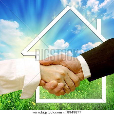 Housing deal. Conceptual image of buying, selling new house