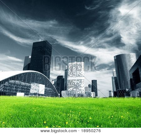 Big city skyscrapers and green fresh meadow.