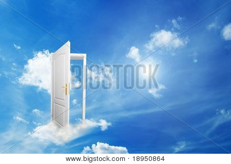 Door to new world. Open door on cloud conceptual. Other original versions of this concept available in my portfolio.
