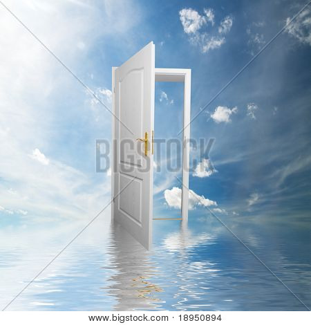 Door to new world. Open door in sky conceptual. Other original versions of this concept available in my portfolio.