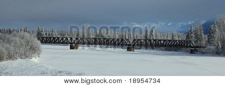 Trestle Over River In Alaska