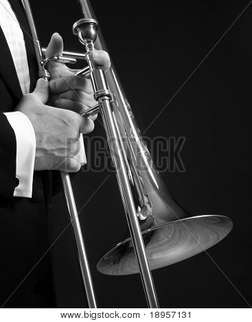 Slide Trombone On Black