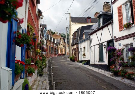 Street With Flowers In France Village