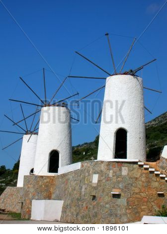 Windmills In The Island Crete