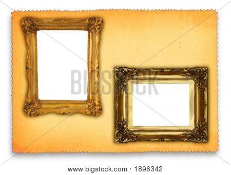 Antique Frames Against Retro Background