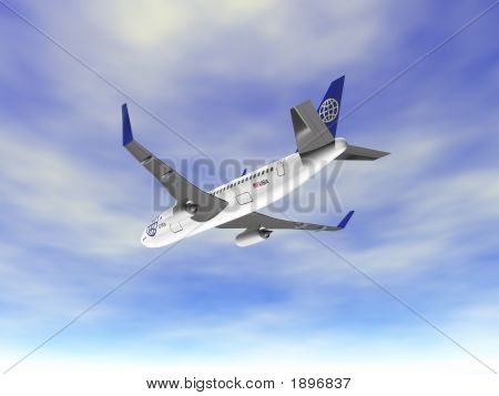 3D Airplane Landing In Sky