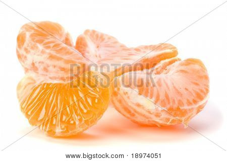 peeled mandarin segments isolated on white background