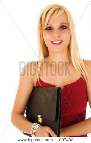 Blonde Businesswoman In Red Dress