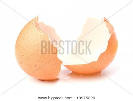 broken eggshell  isolated on white background