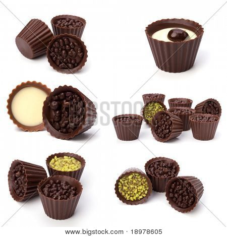 chocolate pralines isolated on white background