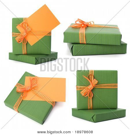 easter gifts with greeting card isolated on white