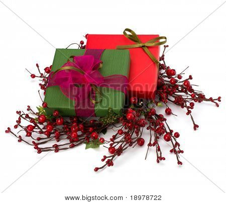 festive gift box stack isolated on white background