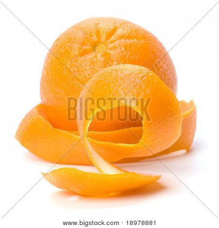 Orange with double skin layer isolated on white background. Safeguard and safety concept.