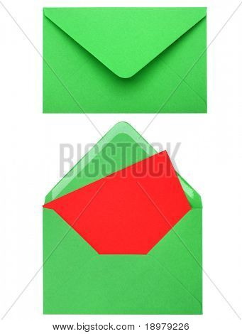 green envelope with card isolated on white background