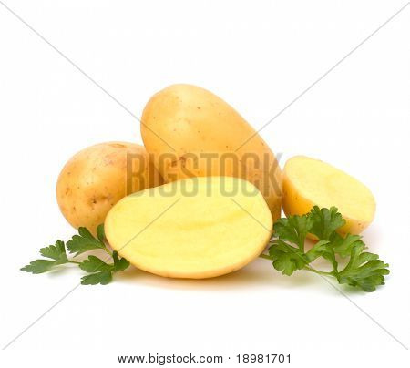 New potato and green parsley isolated on white background close up