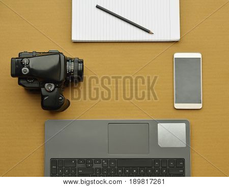 Top view of photographers desktop shot in studio