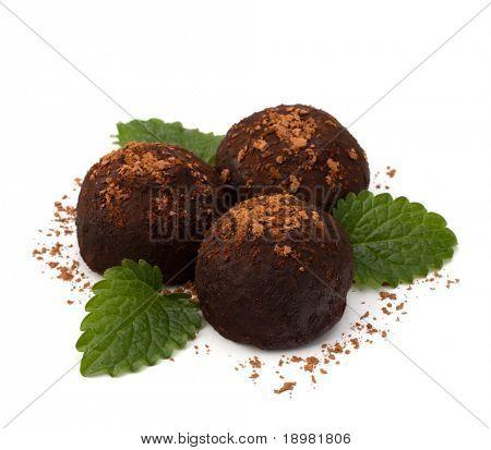 Chocolate truffle candy isolated on white background