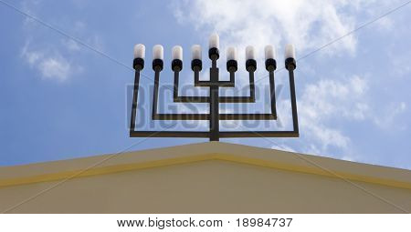 Israel jewish synagogue in  Mazkeret Batya / close-up of menorah