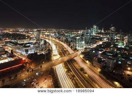 The night Tel Aviv city - View of Tel Aviv at night.