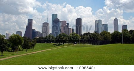 The Houston Texas Skyline on a bright cloudy day.