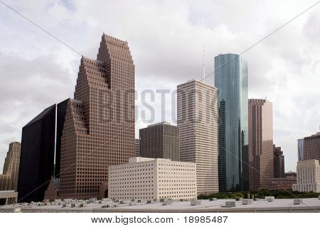 A section of buildings in the Houston Texas Skyline.